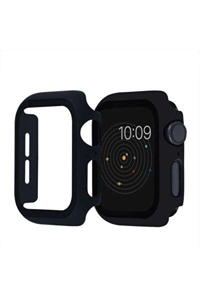 Apple Watch Seri 2 3 4 5 6 44mm Tam Kaplayan Kasa Korumalı Ekran Koruyucu Kırılmaz Cam Siyah