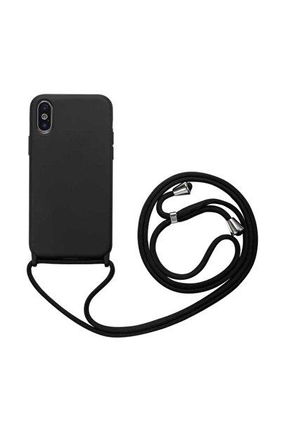 Apple Iphone Xs Max Kılıf Ipli Boyun Askılı Içi Kadife Lansman Yumuşak Silikon