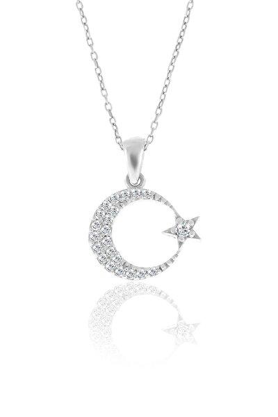 Gümüş Zirkon Taşlı Ay Yıldızlı Kolye