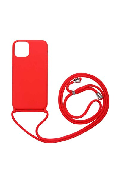 Apple Iphone 12 Pro Max Boyun Askılı Silikon Kılıf (kadife Iç Yüzey Şık Tasarım) Kırmızı