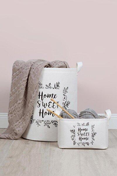 Home Sweet Home Baskılı Beyaz Sepet 2'li