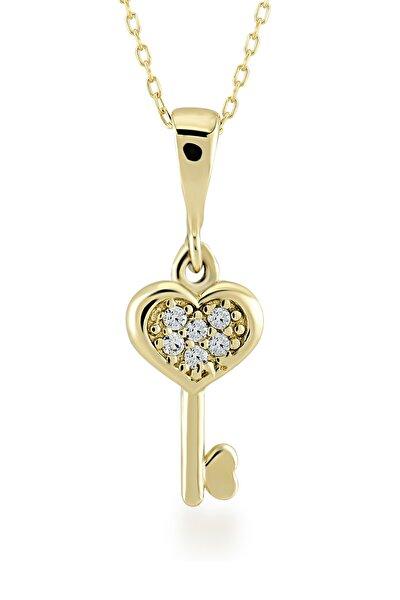 Gelin Diamond 14 Ayar Altın Kalp Anahtar Kolye