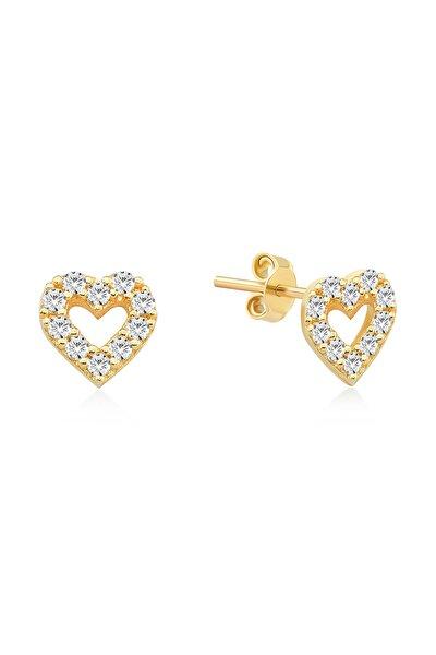 Gelin Diamond 14 Ayar Altın Taşlı Kalp Küpe