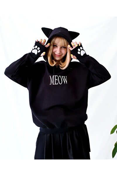 Kadın Siyah Kedi Kulaklı Sweatshirt