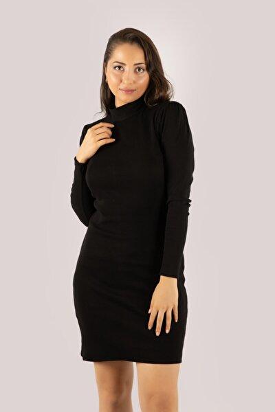 Kadın Siyah Balıkçı Yaka Uzun Kollu Ribanalı Kol Büzgülü Dar Elbise Shaw21-270