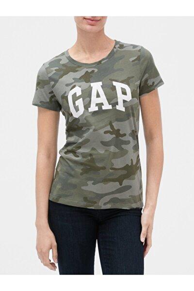Kadın Yeşil Logo Kısa Kollu T-shirt