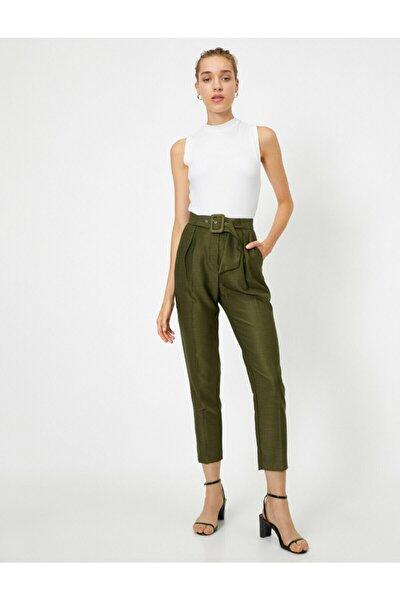 Kadın Yeşil Kemerli Cepli Pantolon