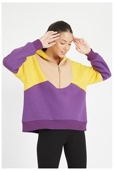 Kadın Lila Oversize Sweatshirt