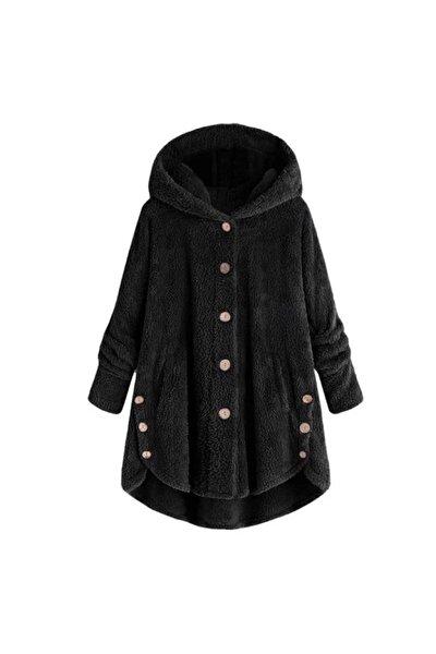 Kadın Siyah Düğme Detay Cepsiz Kapüşonlu Peluş Kaban