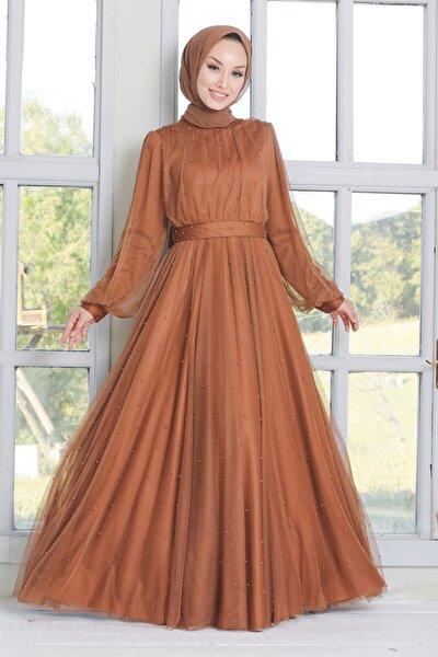 Kadın Taba İnci Detaylı Tesettür Abiye Elbise 50080tb
