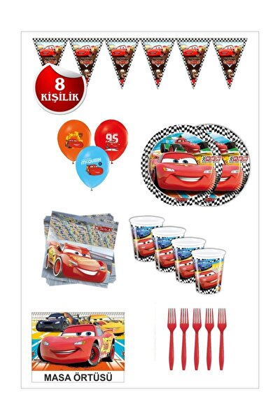 Şimşek Mcgueen Arabalar Doğum Günü Seti 8 Kişilik