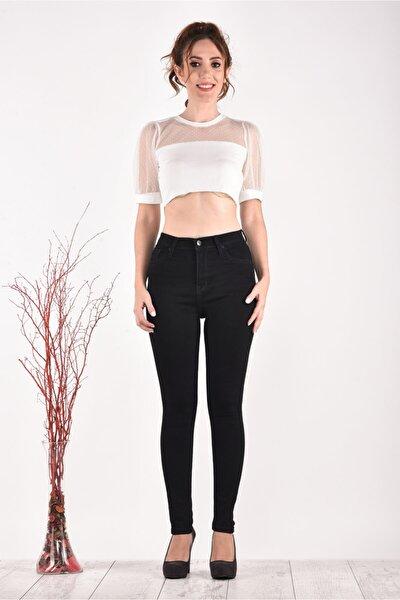 Kadın Yüksek Bel Dar Paça 824 Model Black Bayan Jeans Pantolon