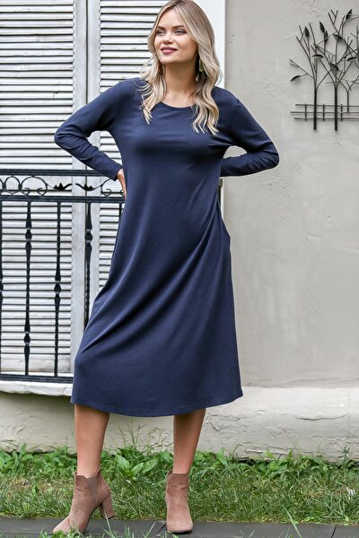 Kadın Lacivert Casual Gizli Cepli Yumoş Elbise C10160000EL96082