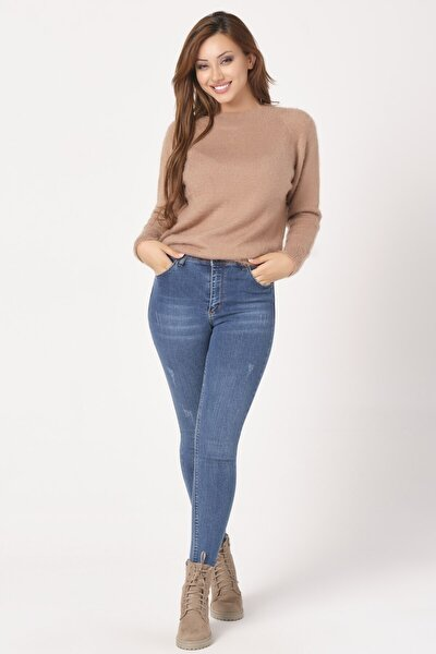 Kadın Mavi Dar Paça Mira Bilek Kot Pantolon