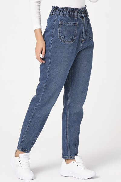 Kadın Mavi Beli Paça Lastikli Kot Pantolon
