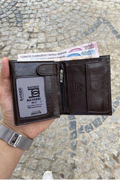 Erkek Kahverengi  Hakiki Deri Kullanışlı Bozuk Para Hazneli Cüzdanı