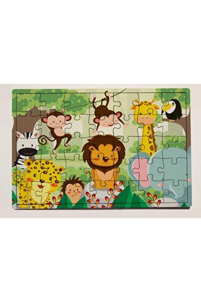 Orman Hayvanları Tasarımlı 35 Parça Ahşap Puzzle Yapboz