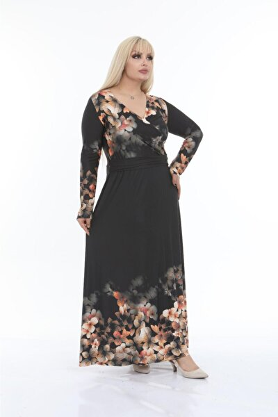 Buzy Kumaş Kruvaze Yaka Çiçekli Büyükbeden Elbise