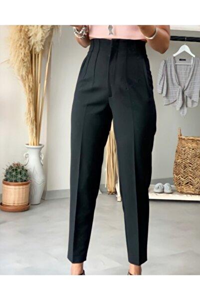 Siyah Yüksek Bel Ince Pensli Pantolon