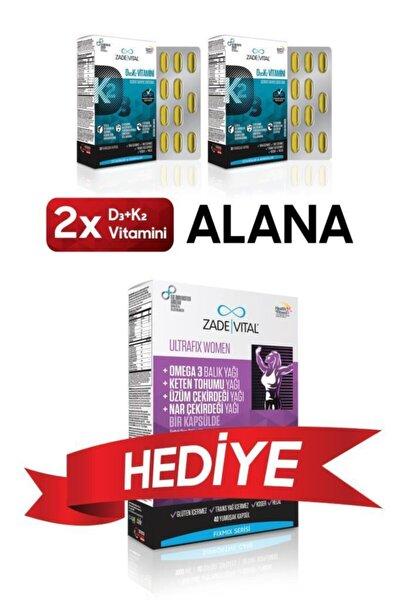 D3+K2 (MK7) Vitamini 30 Yumuşak Kapsül x2 + Fixmix Ultrafix Women  40 Kapsül