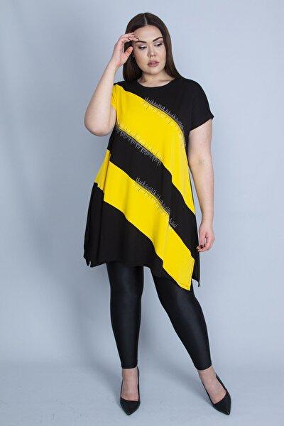 Kadın Sarı Renk Kombinli Taş Detaylı Tunik 65N23129