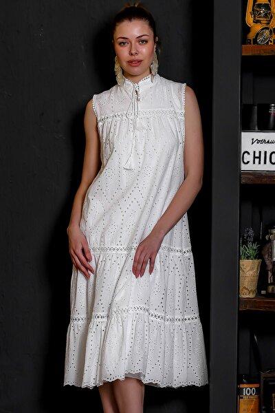 Kadın Beyaz Fisto Kumaş Hakim Yaka Kolsuz Astarlı Uzun Elbise M10160000EL95386