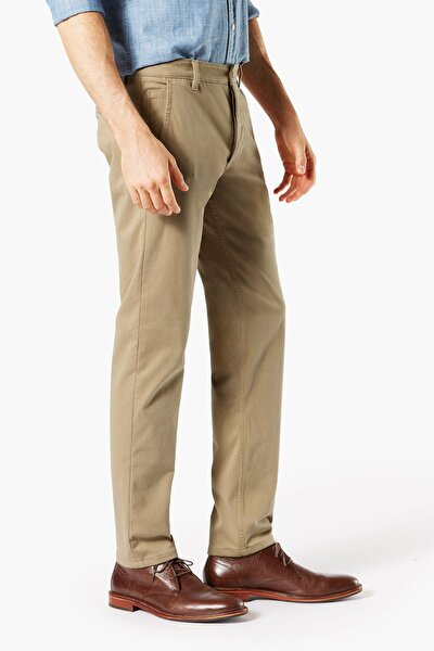 Erkek Supreme Flex Alpha Khaki, Tapered Fit Pantolon