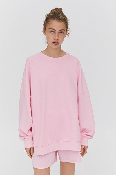 Kadın Pembe Fitilli Kenarlı Soluk Efektli Sweatshirt