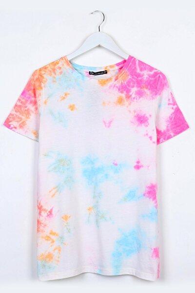 Kadın Beyaz Pembe Yıkamalı T-shirt