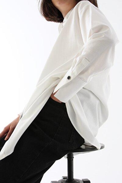 Kadın Ekru Gizli Patlı Pamuklu Gömlek Tunik