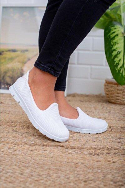 Beyaz Memory Foam Ortopedik Günlük Casual Bayan Spor Babet Ayakkabı Byndoz01