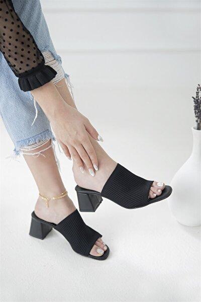 Granada Kadın Triko Topuklu Terlik Siyah
