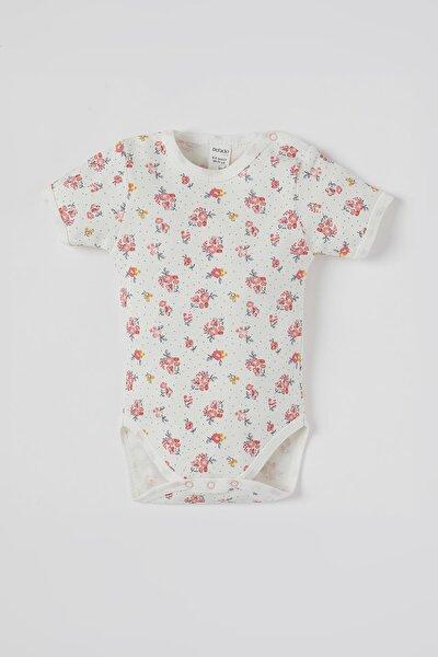 Kız Bebek Çiçek Desenli Kısa Kol Çıtçıtlı Pamuklu Body