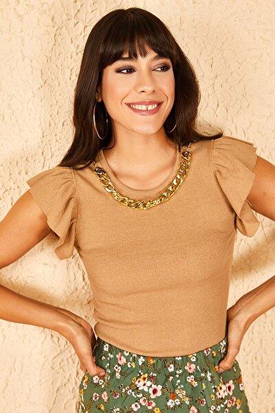 Kadın  Yakası Zincirli Kolları Fırfırlı Kahverengi Bluz