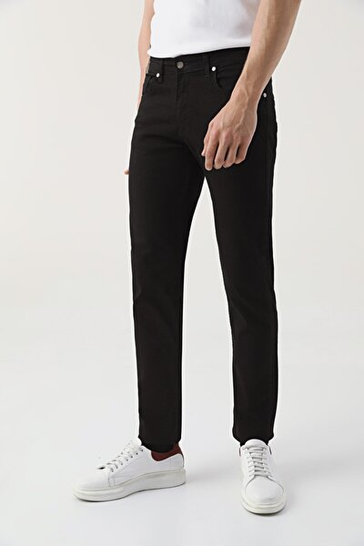Slim Fit Siyah Düz Denim Pantolon