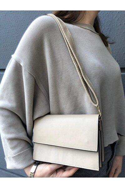 Kadın Krem Kapaklı Çapraz Askılı Çanta