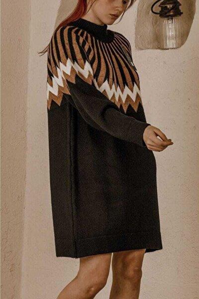 Kadın Çam Pulu Desen Detay Ipek Triko Elbise