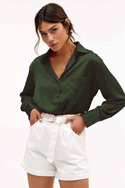 Kadın Yeşil Saten Gömlek