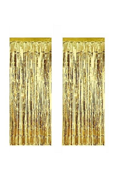 2 Adet Kapı Perdesi Kapı Banner Fon Süsü Metalize Altın