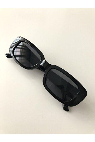Unisex Siyah Kare Dikdörtgen Vintage Retro Güneş Gözlüğü