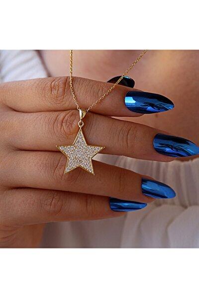 Beyaz Zirkon Taşlı Yıldız Gümüş Kolye