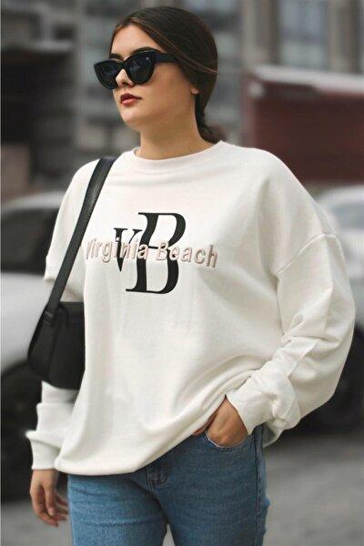 Kadın Beyaz Mad Girls Sweatshirt Mg838