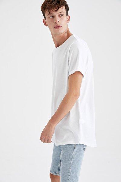 Erkek Beyaz Long Fit Uzun Bisiklet Yaka Basic Tişört M4793AZ20AUWT