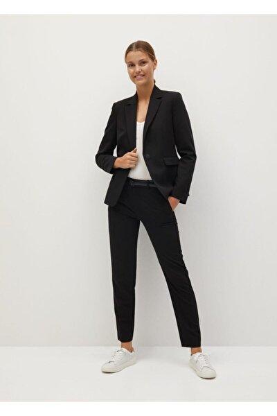 Kadın Siyah Fit Kesim Takım Ceket