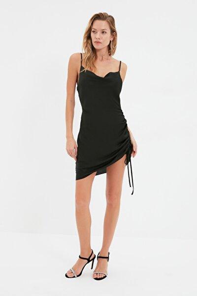 Siyah Degaje Yaka Saten Elbise TPRSS20EL0810