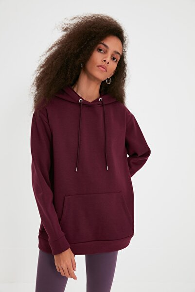 Mürdüm Kanguru Cepli Kapüşonlu Boyfriend Örme Şardonlu Sweatshirt TWOAW20SW0525