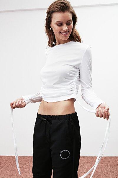 Melıssa Kadın Beyaz Düz Renk Bisiklet Yaka Bluz
