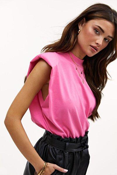 Kadın Pembe Vatkalı T-Shirt Mg900