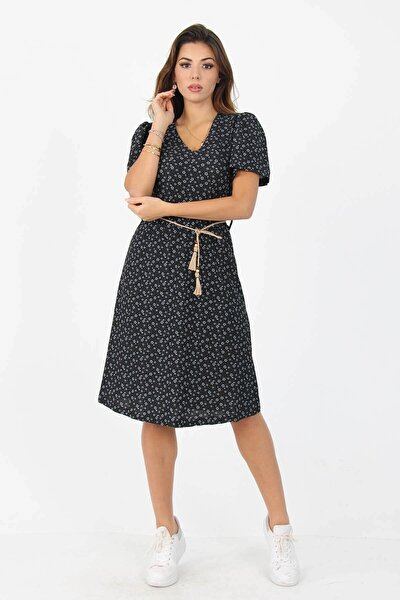 Kadın Yeni Sezon Midi Boy Desenli Elbise Nb60202