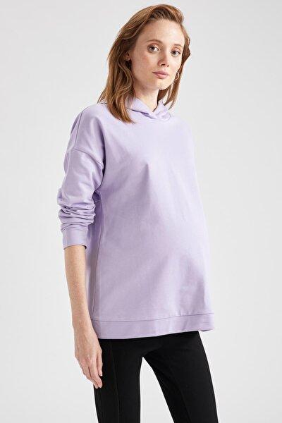 Kadın Mavi Kapüşonlu Hamile Sweatshirt T6048AZ20WNBE